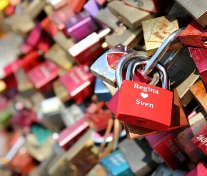 Love locks at the Hohenzollern Bridge in Cologne
