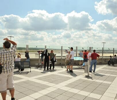 View to the sky: aircraft fans enjoy the view from the visitor terrace