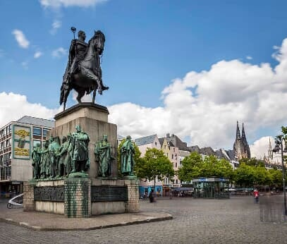 Equestrian monument on the Heumarkt in Cologne's old town