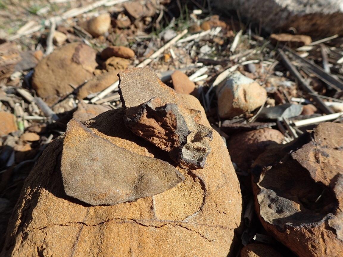 """Fast wie Scherben sehen einige Funde aus Limonit aus - der Sage nach gehören sie zum Geschirr der """"Unterirdischen""""."""