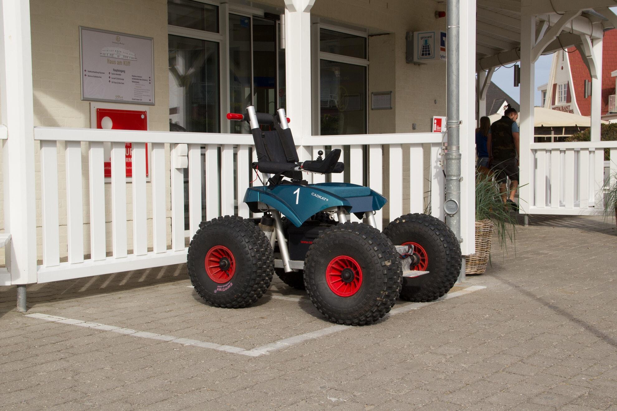 E-Rollstuhl an der Ausgabestelle