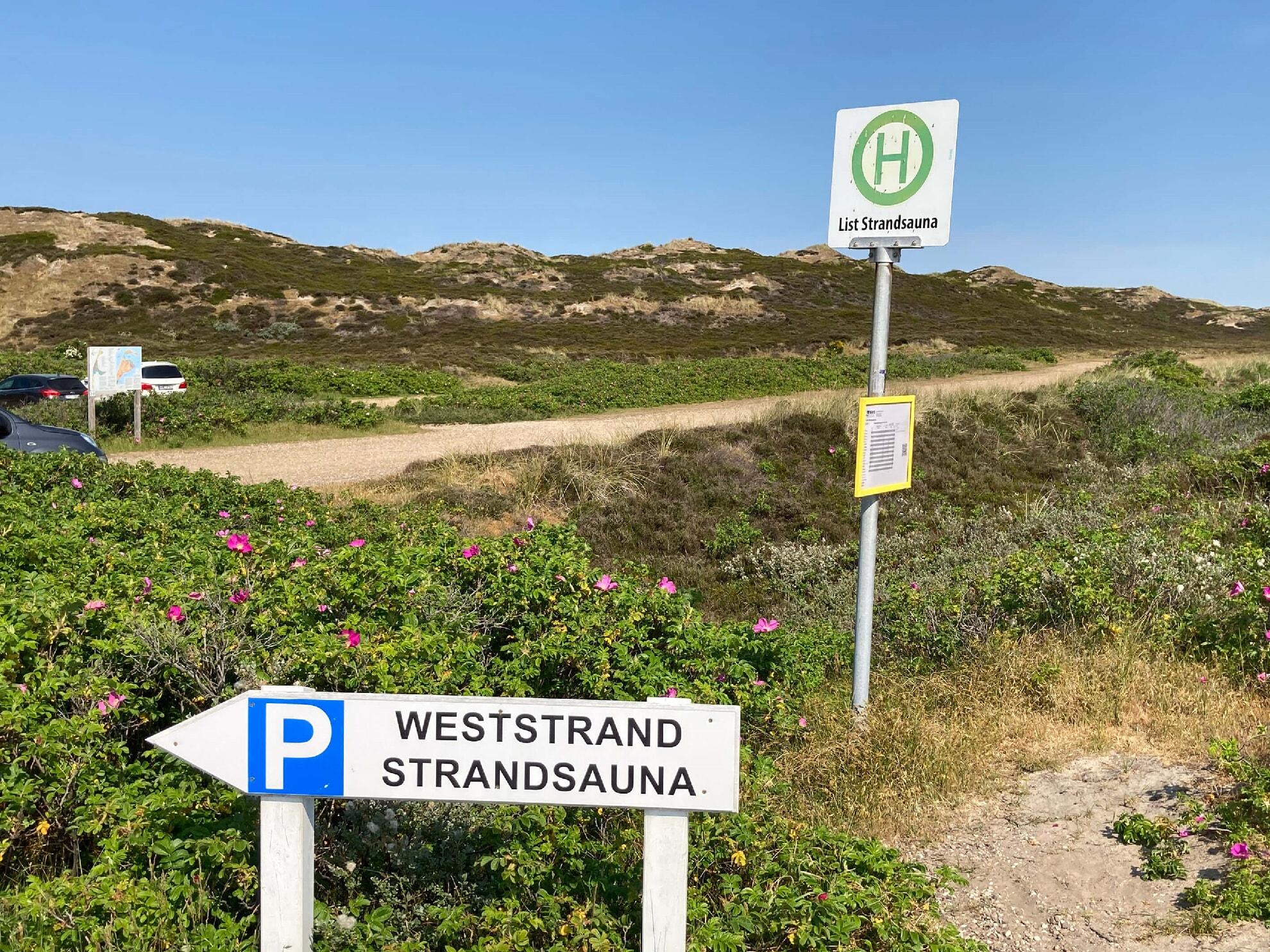 Bushaltestelle Strandsauna Richtung Westerland