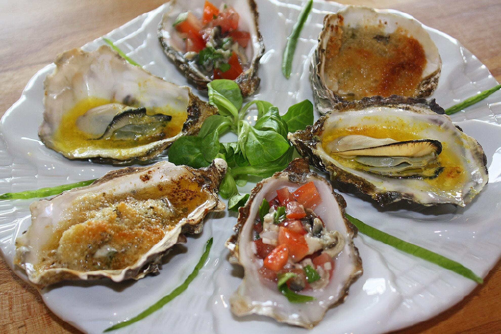 zubereitete Austern