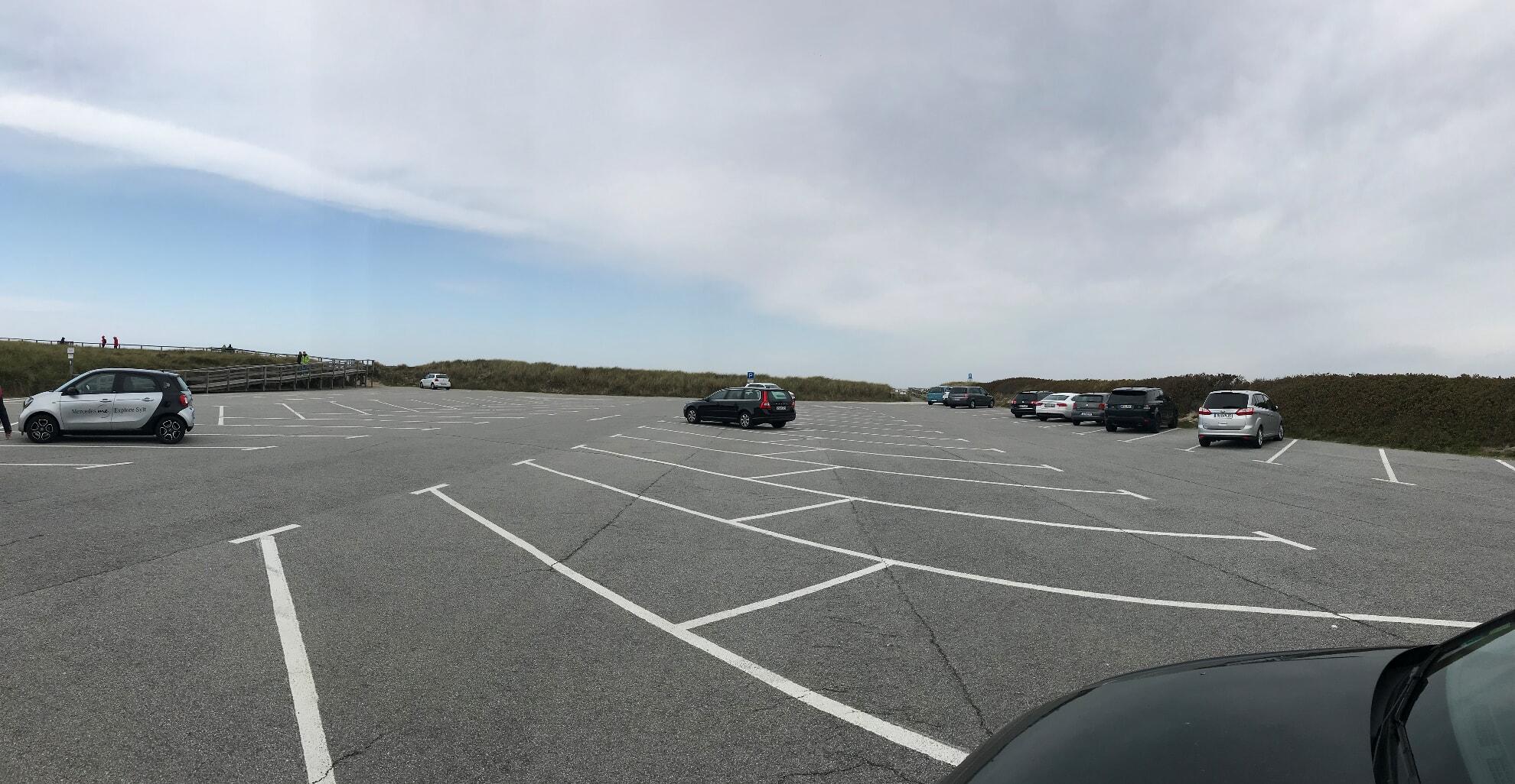 Parkplätze am Strandübergang Sturmhaube in Kampen